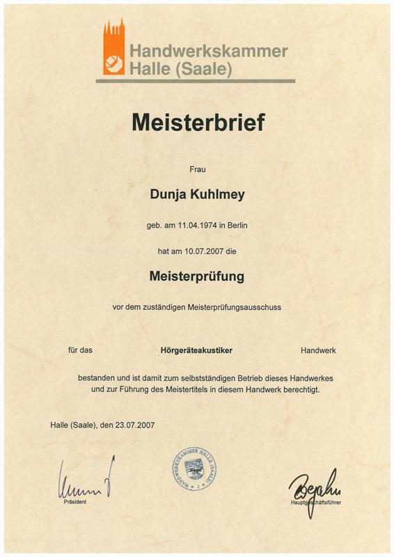 Meisterbrief - Hörgeräteakustikerin